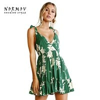 NORMOV Boho Style Print Green Dress Women Lacing V-neck Backless Floral Mini Polyester Vestidos Trendy Sexy Women Dresses