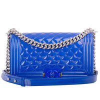 Chanel Blue Marine Quilted Patent Medium Boy Bag