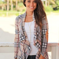 Mocha Plaid Cardigan with Elbow Patches