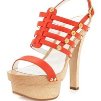 Versace Studded Leather Slingback Sandal, Orange/Golden