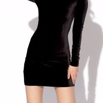 Stacia Long Sleeve Velvet Mini Dress