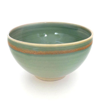 Porcelain bowl, large bowl, ceramic bowl, green bowl, handmade, pottery bowl