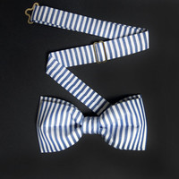 Men's Pre Tied Bow Tie by BartekDesign: dark blue white stripes nautical wedding informal grooms proms chic handmade