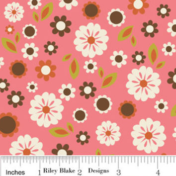 Riley Blake, Indian Summer, Pink Floral cream Quilting Cotton, 1 Yard, more yardage available, Discontinued Fabric