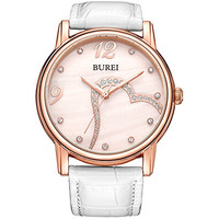 BUREI Women's Mother-Of-Pearl Rose Gold Watch with White Leather Band