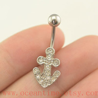 belly ring,Belly Button Rings,anchor Navel jewelry glitter anchor belly ring,friendship gift,oceantime