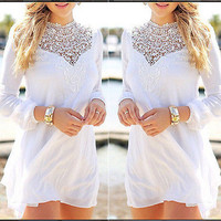 Casual Dress 2015 Summer white fashion Womens embroidery dress long sleeve Lace Slim Dresses Vestidos
