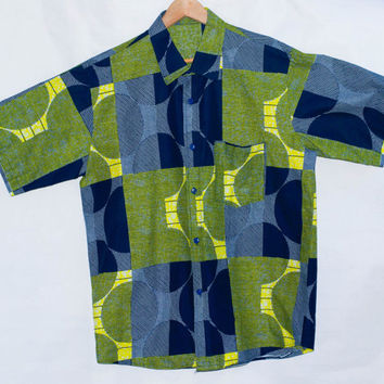 Men's African Print Shirt/ Half Sleeves/ Button Up Cotton/ Ankara Shirt. M/L