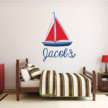 "Nautical Sailboat Anchor Monogram Name Wall Decal Vinyl Boys Room Sticker 42""x29"" Home Decor"