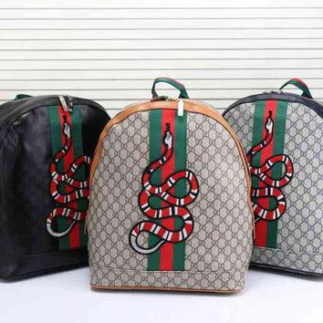 DCCKJL0 Gucci Women Leather Snake Pattern Shoulder Bag Daypack Backpack