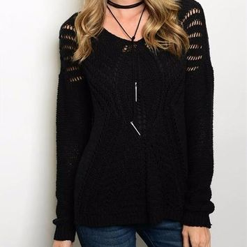 Cozy Nights Black Knit Sweater