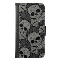 Sugar Skull Pattern Samsung Galaxy S6 Wallet Case