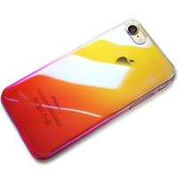 Originality Case For iPhone 7 luxury Aurora Gradient Color Transparent Case For iPhone 7 Plus light Cover Hard PC Cases -0329