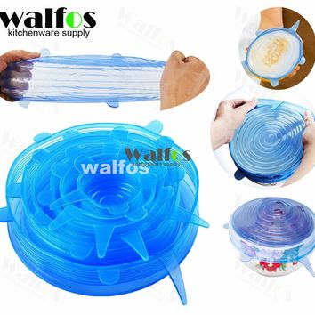 WALFOS silicone lid for can Sealed Crisper Refrigerator Plastic Food Storage Box Preservation Box Container Kitchen Supplies