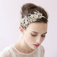 Golden blossom and crystal burst headband - Style # 418