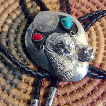Vintage Bear Bolo Tie - SIGNED Large Silver Grizzly Bear String Tie - Native American Turquoise, Coral and Genuine Buffalo Nickel