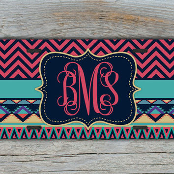 Personalized gift, monogram license plate - Tribal pattern in dark pinks and aqua - aztec car tag , tribal custom monogram auto  (1273)