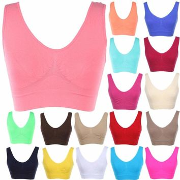 Seamless Spandex Cropped Sleeveless Sports Tank Top Bralette Deep Back ONE SIZE