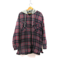 Vintage purple Plaid Flannel hoodie / Grunge Shirt jacket / insulated zipper up shirt coat / LT