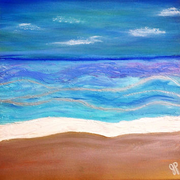 Original painting of Beach,  Ocean and Waves.  Textured Abstract acrylic painting  20x20. Blue and Aqua Art. Original Art by JP Morris