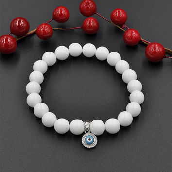 Natural Gemstone White Agate Bead  Bracelet with 925 Sterling Silver Evil Eye Charm