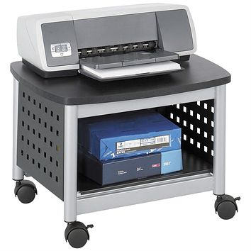 Under-Desk Printer Stand Mobile Office Cart in Black and Silver