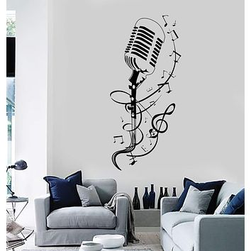 Vinyl Wall Decal Microphone Patterns Singing Karaoke Stickers Unique Gift (ig4022)