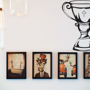 Trophy with Bible Cross  Vinyl Wall Decal - Removable (Indoor)