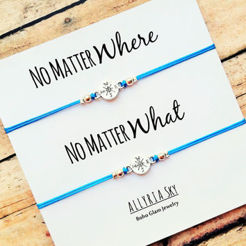 "Compass Friendship Bracelet Set with ""No Matter Where No Matter What"" Card 