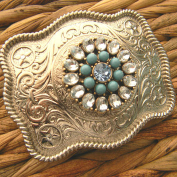 Rhinestone Turquoise Belt Buckle, Silver Western Womens Boho Buckle, Gypsy Clothing Silver Custom Belt Buckle, Boho Brooch, Statement Belt