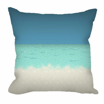 Nautical Throw Pillow with color block sea and sand
