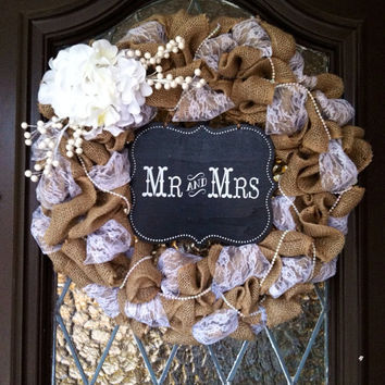 Wedding Wreath, Burlap Wedding Wreath, Rustic Wedding Wreath, Wedding Decor, Burlap and lace, Mrs&Mr Decor, Wedding present