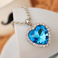Women's Ladies Fashion Necklace Neoglory Titanic Ocean Heart Pendant Necklace Engagement Elegant Crystal Rhinestone Jewelry Gift = 1958056004