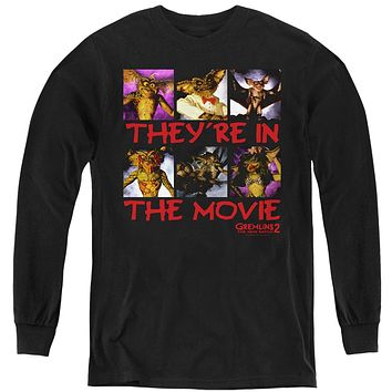 Gremlins 2 Kids Long Sleeve Shirt They're in the Movie Black Tee