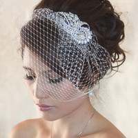 Wedding Birdcage Veil with Crystal rhinestone brooch VI01