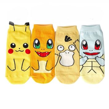 Cute Japanese Anime  Ankle Socks Pikachu Nintendo Character Pocket Monsters Women Short Socks Cosplay Christmas GiftKawaii Pokemon go  AT_89_9