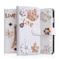 Coque For IPhone 5S Case Diamond Artificial Leather Case Soft Plastic Stand For IPhone 5 SE Effiel Glitter Rhinestone Flip Cover