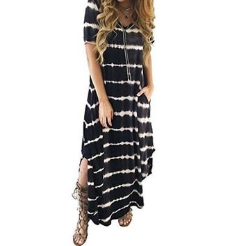 Soft Stretchy Tie Dyed Maxi Dress With Pockets