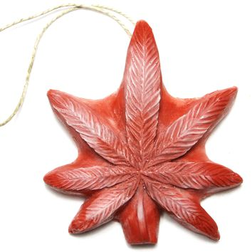 Panama Red Dope on a Rope - Sage & Cedar Pot Leaf shaped Soap on a Rope