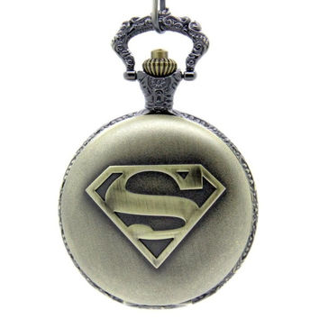 NEW Laogeshi Retro Bronze Superman Steampunk Unisex Men Women Quartz Chain Fob Pocket Watch = 1946867076