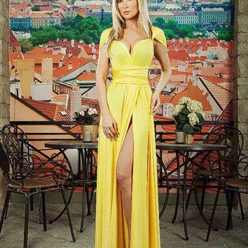 Yellow Dress  Maxi, Bridesmaids Dress, Formal Dress, Evening gowns, Evening dress, Designer summer dress, Silk Party dress, multiway dress