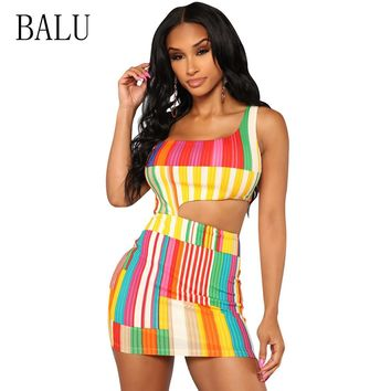BALU Cut Out Striped Women Dress Summer One Shoulder Sleeveless Hollow Out Bodycon Dress Sexy Party Club Wear Short Mini Dresses