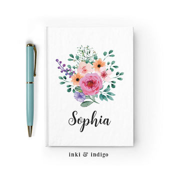 Personalized Journal, Custom Floral Notebook, Writing Journal, Personalized Floral Name Book, Pink Floral Sketchbook, Blank or Lined pages