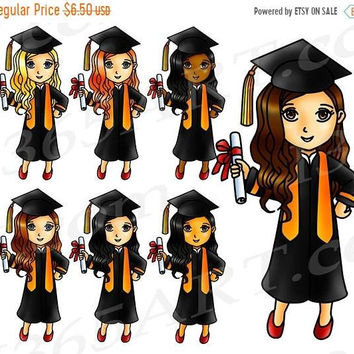 50% OFF Graduation Clipart, Graduation Clip Art, Graduation Girls, Planner Stickers, Highschool, College, Digital Stamps, African American