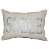 Spencer ''Smile'' Throw Pillow (Nat/Blue)