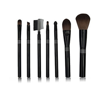 Naturebelle 7 PCS Bling Crystal Diamond-mounted Professional Cosmetic Make Up Brush Set Kit with Synthetic Leather Case (Black)