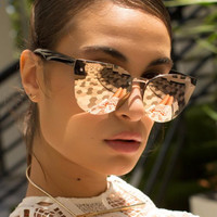 Quay - Higher Love Sunglasses - Gold/ Pink Mirror