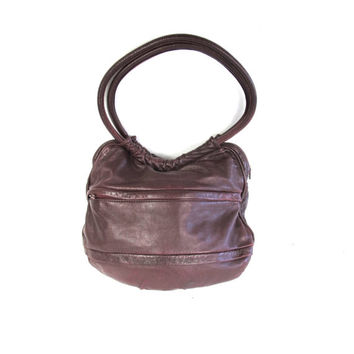 1970s Leather Hobo Bag Burgundy Red Hobo Purse Deep Red Buttery Soft Leather Purse Shoulder Strap Slouchy Leather Purse Sac Purse Bucket Bag