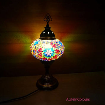 Turkish style handmade unique colourful glass mosaic decorative bedside lamp, table lamp, bedroom night lamp, kid's room lamp, office lamp.