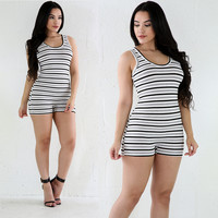 Multicolor Stripped Rompers Jumpsuits